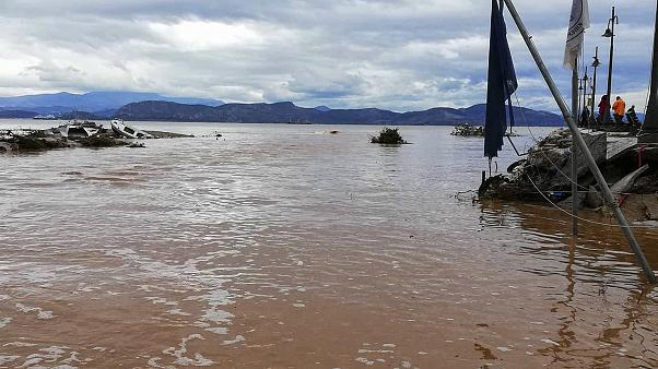 A flooded area is pictured after a storm hit the town of Argos