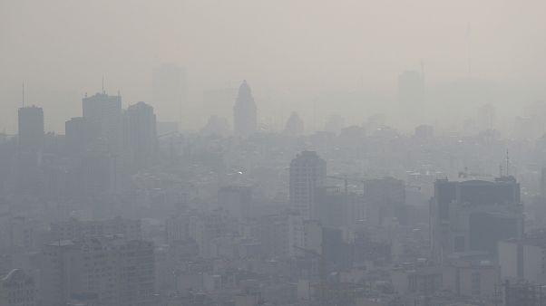 Air pollution blankets the skyline in Tehran, Iran, in November 2019