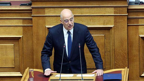 Ο υπουργός Εξωτερικών Νίκος Δένδιας μιλά στη δεύτερη μέρα της συζήτησης για τον Προϋπολογισμό του 2020, ΑΠΕ-ΜΠΕ/ΑΠΕ-ΜΠΕ/Αλέξανδρος Μπελτές