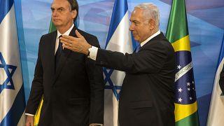 رئيس الوزراء الإسرائيلي بنيامين نتنياهو رفقة الرئيس البرازيلي جائير بولسونارو (أرشيف)