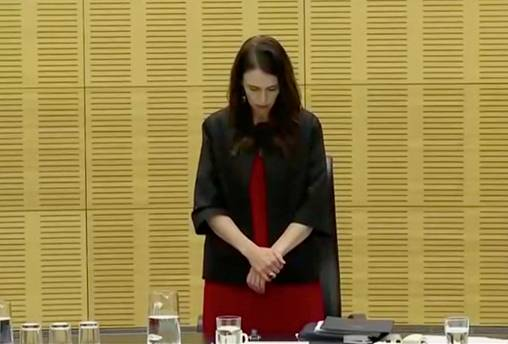 New Zealand's Prime Minister Jacinda Ardern observes a minute of silence, to mark one week since the deadly eruption of White Island, in Wellington, New Zealand