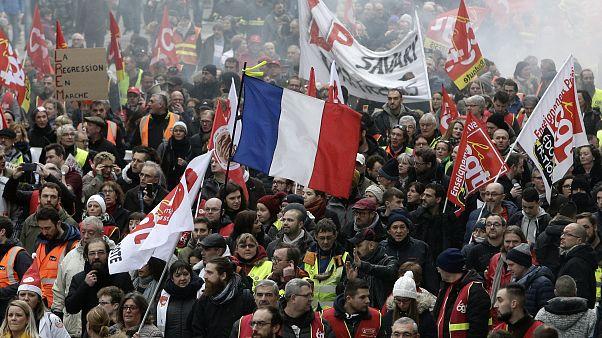 Protestors march in Lille