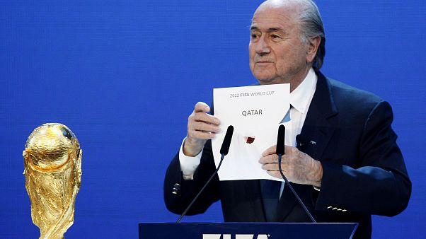 President of FIFA Joseph S. Blatter reveals that Qatar have won the bid to host the 2022 FIFA World Cup, Messezentrum, Zurich, Switzerland - 2/12/10