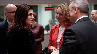 Varga Judit és Tytti Tuppurainen a múlt heti meghallgatás előtt Brüsszelben