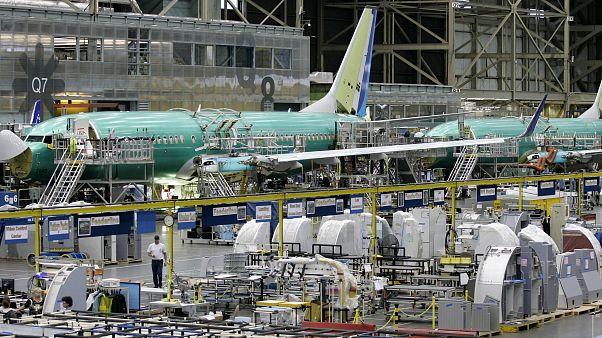 Aviones Boeing 737 en la línea de montaje