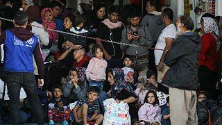 مهاجرون في  جزيرة ساموس اليونانية