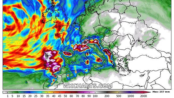 Acumulación total de precipitaciones hasta el sábado.
