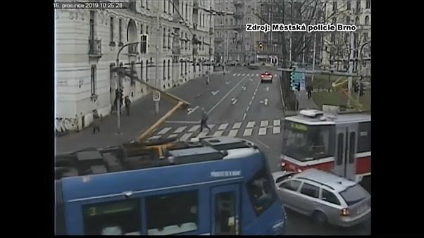 Watch: Car collides with two trams in Czech Republic
