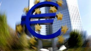 The Euro sculpture in front of the European Central Bank is seen in Frankfurt, central Germany, Wednesday, April 28, 2010. (AP Photo/Michael Probst)