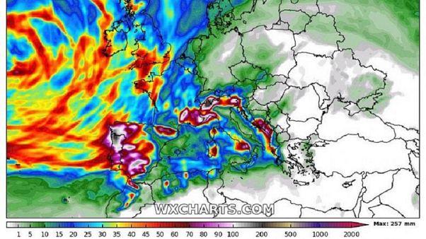 A szombatig várható csapadék mennyisége Európában