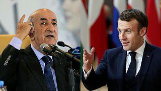الرئيس الفرنسي إيمانويل ماكرون ونظيره الجزائر عبد المجيد تبون