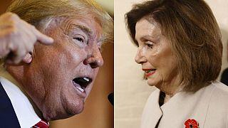 زعمية الديمقراطيين نانسي بيلوسي والرئيس الأمريكي دونالد ترامب