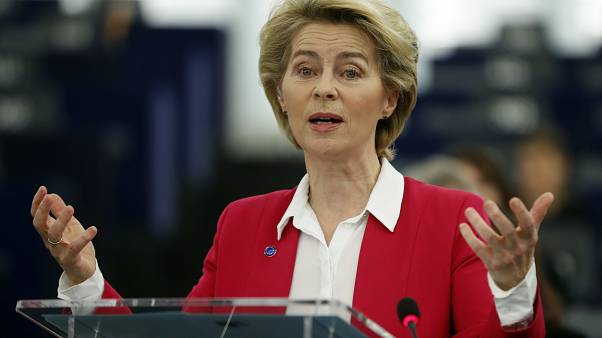 European Commission President Ursula von der Leyen right, speaks during the Commemoration of the 10th anniversary of the Lisbon Treaty .