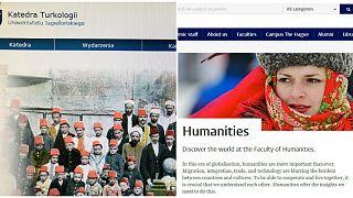 Avrupa'da Türkçe ve Osmanlıca eğitim veren kurumlar: Polonya'daki Jagiellonian Üniversitesi (solda), Hollanda'daki Leiden Üniversitesi (sağda)