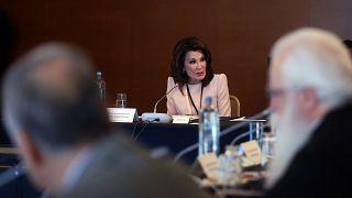 Η Γιάννα Αγγελοπούλου απευθύνεται στα μέλη της επιτροπής Ελλάδα 2021 στην πρώτη συνεδρίαση της, Αθήνα