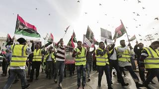 Protesters in Tripoli demonstrate against the military offensive of Field Marshal Khalifa Hifter