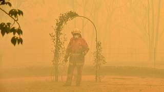 A firefighter tackling the blaze in Balmoral in Australia