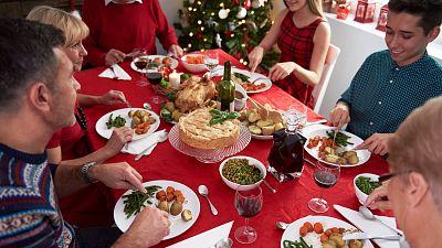 A family eating vegan Christmas dinner