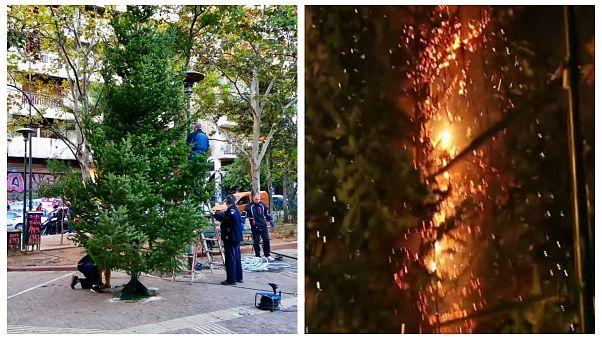 Το χριστουγεννιάτικο δέντρο στα Εξάρχεια άντεξε μόνο λίγες ώρες