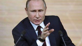 الرئيس الروسي فلاديمير بوتين خلال مؤتمر صحافي في موسكو
