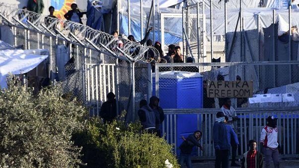 A refugee camp on the eastern Greek island of Samos