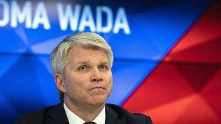 وزير الرياضة الروسي بافيل كولوبكوف خلال مؤتمر صحافي