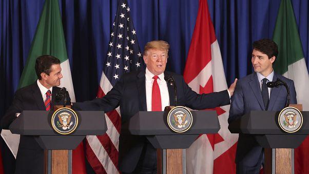 Meksika Devlet Başkanı Enrique Pena Nieto, ABD Başkanı Donald Trump ve Kanada Başbakanı Justin Trudeau