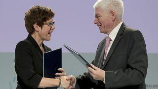 German Defence Minister Annegret Kramp-Karrenbauer, left, and Josef Schuster, President of the Central Council of Jews