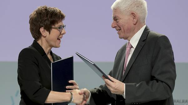 German Defence Minister Annegret Kramp-Karrenbauer, left, and Josef Schuster, President of the Central Council of Jews