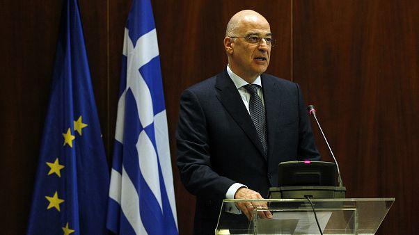 Ο υπουργός Εξωτερικών της Ελλάδα Νίκος Δένδιας μιλάει προς του Πρέσβεις σε ημερίδα που γίνεται στο Υπ. Εξωτερικών,