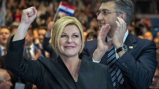 Kolinda Grabar- Kitarovic with prime minister Andrej Plenkovic at a rally in Zagreb