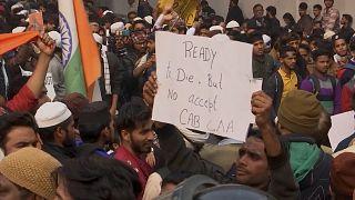 Student protest outside university in New Delhi