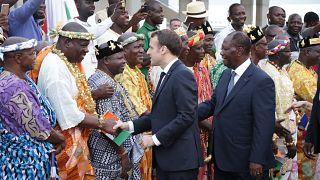 Fransa Cumhurbaşkanı Emmanuel Macron Fildişi Sahili'nin Abidjan kentinde