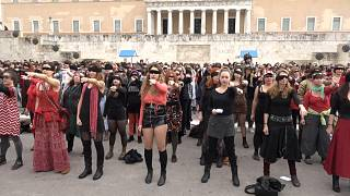Feminist anthem 'Las Tesis' performed in front of Greek parliament