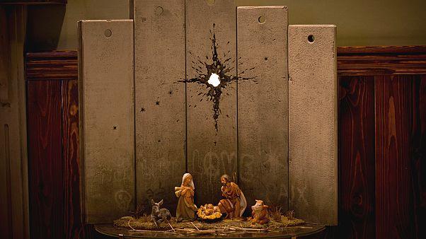Banksy'den 'Hz. İsa'nın doğumu ile İsrail'in ayırım duvarını' yorumlayan eser