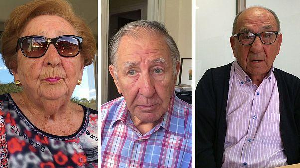 De izq. a dcha. Miren, Pablo y Alejandro, testigos y protagonistas del éxodo en el País Vasco