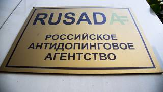"A sign reading ""Russian National Anti-doping Agency RUSADA"" on a building in Moscow, Russia."