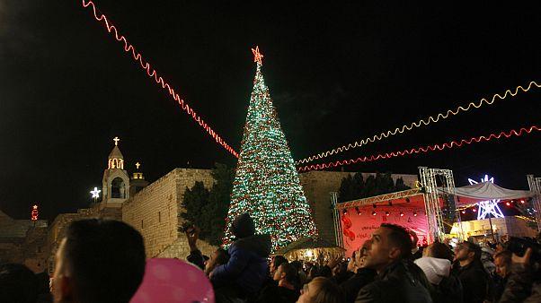 شجرة الميلاد في ساحة كنسية المهد- بيت لحم الضفة الغربية