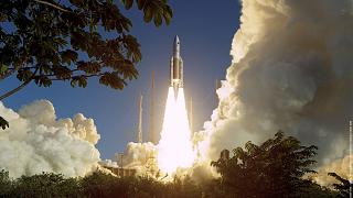 View of the Ariane-5 ECA Flight 164 launch on 12 February 2005 from Europe's Spaceport in French Guiana.