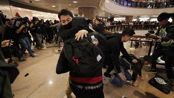 Clashes erupt at busy Hong Kong shopping centre