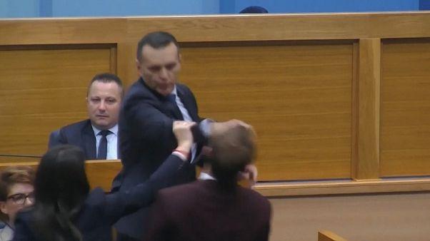 ویدئو؛ سیلی وزیر کشور منطقه صربنشین بوسنی  به نماینده پارلمان