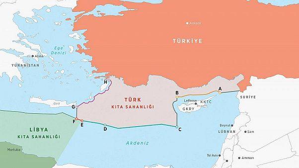 Harita üzerinde Türkiye - Libya anlaşması