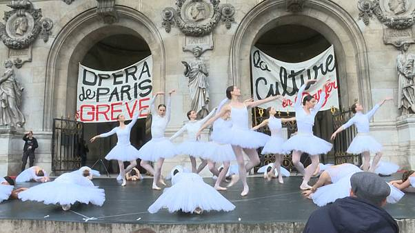 Ballet dancers protest against French pension reform on steps of Opera Garnier