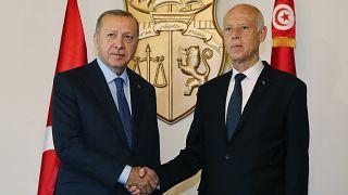 Cumhurbaşkanı Recep Tayyip Erdoğan Tunus Cumhurbaşkanı Kays Said ile bir araya geldi