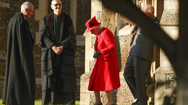 Queen Elizabeth II seen at the traditional Christmas Day service