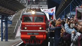 Celebrations at the arrival of the Russian train in Sevastopol, Crimea