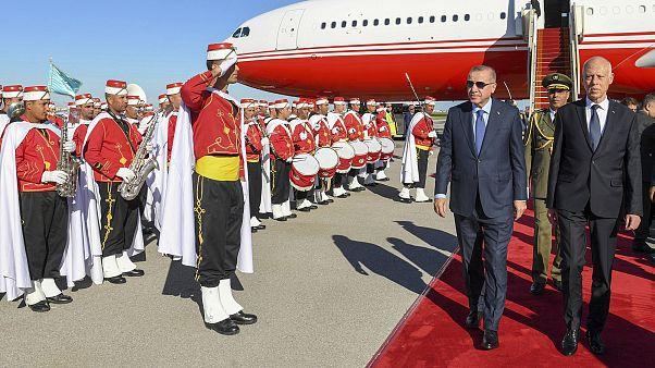 Turkey's Erdogan, left and Tunisian President Kais Saied, in Tunis