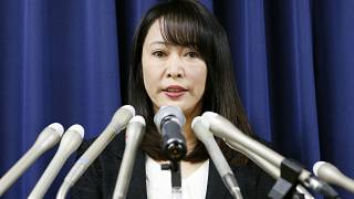 Japan's Minister of Justice Masako Mori speaks at a press conference on the execution of a condemned convict Thursday, Dec. 26, 2019, in Tokyo. (Kyodo News via AP)