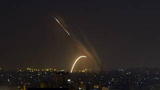 FILE PHOTO: Rockets are launched from the Gaza Strip towards Israel, Wednesday, Nov. 13, 2019.