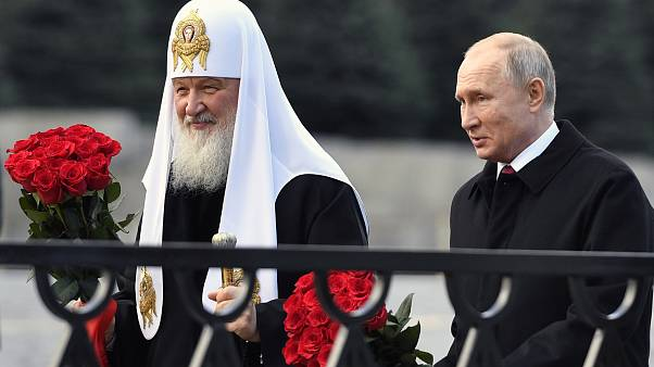 البطريرك الروسي كيريل بصحبة الرئيس الروسي فلاديمير بوتين